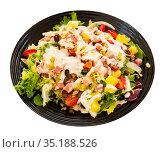 greek salad with latucce, cabbage and bacon for lunch. Стоковое фото, фотограф Яков Филимонов / Фотобанк Лори