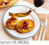 Dish with stuffed potatoes with boiled egg. Стоковое фото, фотограф Яков Филимонов / Фотобанк Лори