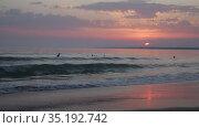 Amazing sunset sea scenery with waves and sandy beach. Стоковое видео, видеограф Яков Филимонов / Фотобанк Лори