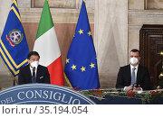 Italian Prime Minister Giuseppe Conte (L) and Rocco Casalino spokesman... Редакционное фото, фотограф Press office / Pool / AGF/Press office / Pool / AG / age Fotostock / Фотобанк Лори