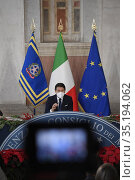 Italian Prime Minister Giuseppe Conte during the year-end press conference... Редакционное фото, фотограф Press office / Pool / AGF/Press office / Pool / AG / age Fotostock / Фотобанк Лори