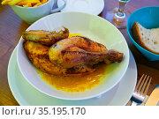 Swiss dish - baked chicken half with sauce. Стоковое фото, фотограф Яков Филимонов / Фотобанк Лори