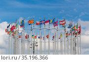 Flags of European countries on flagpoles. Стоковое фото, фотограф Юрий Бизгаймер / Фотобанк Лори