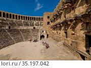 Aspendos Amphitheatre, Antalya, Turkey, Asia Minor, Eurasia. Стоковое фото, фотограф Neil Farrin / age Fotostock / Фотобанк Лори