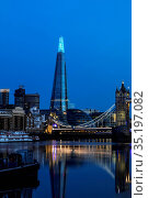England, London, Southwark, Butlers Wharf and The Shard. Стоковое фото, фотограф Steve Vidler / age Fotostock / Фотобанк Лори