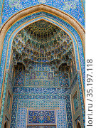 Mozaffari Jame Mosque (Friday Mosque), detail of the facade decorated... Стоковое фото, фотограф G&M Therin-Weise / age Fotostock / Фотобанк Лори