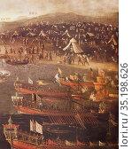 Moriscos disembarking at Oran port, 1613. Detail. By Vicent Mestre... Стоковое фото, фотограф Juan García Aunión / age Fotostock / Фотобанк Лори