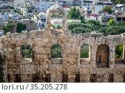 Facade of Odeon of Herodes Atticus, part of ancient Acropolis of ... Стоковое фото, фотограф Konrad Zelazowski / age Fotostock / Фотобанк Лори