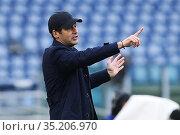 Paulo Fonseca Coach Roma during the match ,Rome, ITALY-10-01-2021. Редакционное фото, фотограф Federico Proietti / Sync / AGF/Federico Proietti / / age Fotostock / Фотобанк Лори