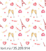 Valentine's day hand-drawn watercolor pattern. Стоковое фото, фотограф Людмила Дутко / Фотобанк Лори