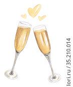 Two glasses of champagne watercolor illustration. Стоковая иллюстрация, иллюстратор Людмила Дутко / Фотобанк Лори