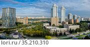 Москва, район Раменки, вид сверху на современные жилые комплексы и посольство КНДР. Редакционное фото, фотограф glokaya_kuzdra / Фотобанк Лори