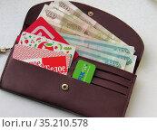 Кошелек с дисконтными картами и бумажными купюрами. Редакционное фото, фотограф Елена Осетрова / Фотобанк Лори