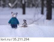 Игрушки. Кот в свитере в зимнем лесу. Стоковое фото, фотограф Dmitry29 / Фотобанк Лори