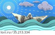 Бумажный кораблик, сделанный из банкноты США, плывет по волнам океана. Стоковая анимация, видеограф WalDeMarus / Фотобанк Лори