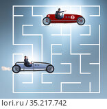 Uncertainty concept with businessman lost in maze labyrinth. Стоковое фото, фотограф Elnur / Фотобанк Лори