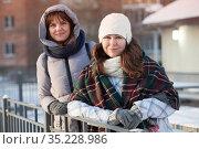 Happy positive two stylish girls standing on street in city. Closeup portrait funny joyful attractive young women dressing winter clothing. Стоковое фото, фотограф Кекяляйнен Андрей / Фотобанк Лори