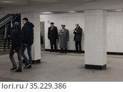 Ленин, Сталин, Путин в московском переходе (2018 год). Редакционное фото, фотограф Дмитрий Неумоин / Фотобанк Лори