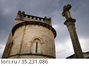 Romanesque church of San Nicolás. Portomarín. Camino de Santiago.... Стоковое фото, фотограф Jacobo Hernández / age Fotostock / Фотобанк Лори