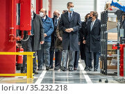 King Felipe VI of Spain inaugurates the new logistics center of the... Редакционное фото, фотограф Manuel Cedron / age Fotostock / Фотобанк Лори