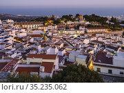 Cityscape. White village of Mijas Pueblo at dusk. Malaga province... Стоковое фото, фотограф Jerónimo Alba / age Fotostock / Фотобанк Лори