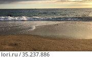 Морские волны набегают на песчаный пляж, закат на море. Стоковое видео, видеограф Кекяляйнен Андрей / Фотобанк Лори