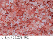 Close up background texture of small fine ground crystals pink Himalayan salt, elevated top view, directly above. Стоковое фото, фотограф Александр Иванов / Фотобанк Лори