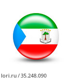 Equatorial Guinea country flag in sphere with white shadow - illustration... Стоковое фото, фотограф Zoonar.com/Evgeny Babaylov / easy Fotostock / Фотобанк Лори