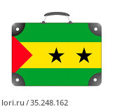 Sao Tome and Principe flag in the form of a travel suitcase on a white... Стоковое фото, фотограф Zoonar.com/Evgeny Babaylov / easy Fotostock / Фотобанк Лори