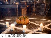 Magic circle with pumpkin and candles, closeup. Стоковое фото, фотограф Tryapitsyn Sergiy / Фотобанк Лори