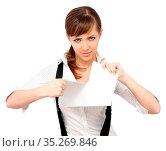 Young woman ripping paper. Стоковое фото, фотограф Zoonar.com/Liliia Rudchenko / easy Fotostock / Фотобанк Лори