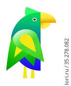 Разноцветный попугай в зеленых тонах. Стоковая иллюстрация, иллюстратор FotograFF / Фотобанк Лори