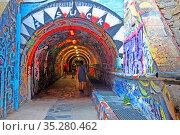 Pedestrian tunnel with graffitis, Cerbère, France. Стоковое фото, фотограф Alfred Abad / age Fotostock / Фотобанк Лори