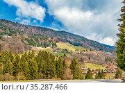 Landscape with mouintains near Le Grand-Bornand in Haute-Savoie, France... Стоковое фото, фотограф Zoonar.com/Boris Breytman / easy Fotostock / Фотобанк Лори