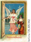 Europa, Deutschland, Weihnachtskarte, verschickt 1906, mit dem Text... Редакционное фото, фотограф Historisches Auge Ralf Feltz / age Fotostock / Фотобанк Лори