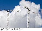 Building cranes, Ipswich Waterfront, Suffolk, England. Стоковое фото, фотограф Dariusz Gora / easy Fotostock / Фотобанк Лори