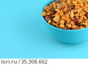 Indian Snacks : Mixture (roasted nuts with salt pepper masala, pulses... Стоковое фото, фотограф Dipak Chhagan Shelare / easy Fotostock / Фотобанк Лори