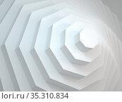 Abstract geometric background with octagons installation. 3d render. Стоковая иллюстрация, иллюстратор EugeneSergeev / Фотобанк Лори