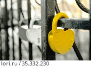 Closed padlock and heart shape as a symbol of eternal love. Concept for valentine's day. Стоковое фото, фотограф Александр Сергеевич / Фотобанк Лори