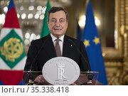 Italian Prime Minister-designate Mario Draghi addresses the media... Редакционное фото, фотограф Quirinale press office / AGF/Quirinale press offic / age Fotostock / Фотобанк Лори