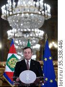 Italian Prime Minister-designate Mario Draghi addresses the media... Редакционное фото, фотограф Pool / AGF/Pool / AGF / age Fotostock / Фотобанк Лори