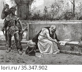 The Death of Archimedes, killed by a Roman soldier during the assault... Редакционное фото, фотограф Jerónimo Alba / age Fotostock / Фотобанк Лори