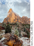 Magnificent panorama of Dolomite Alps. Giau Pass. Huge evergreen spruce... Стоковое фото, фотограф Zoonar.com/kavram / easy Fotostock / Фотобанк Лори