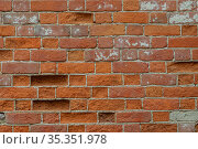 Old weathered red brick wall for texture or background, classic rough aged brickwork, vintage masonry with cement mortar. Стоковое фото, фотограф Андрей Копылов / Фотобанк Лори