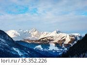 Panorama of Courchevel village valley, ski slopes (2020 год). Стоковое фото, фотограф Сергей Новиков / Фотобанк Лори