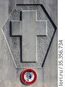 Cross on a gravestone. French souvenir. Passy cemetery. Haute-Savoie... Стоковое фото, фотограф Catherine Leblanc / easy Fotostock / Фотобанк Лори