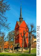 Bell Tower of St. Johannes Church was built in 1692 in central Stockholm... Стоковое фото, фотограф Zoonar.com/Boris Breytman / easy Fotostock / Фотобанк Лори