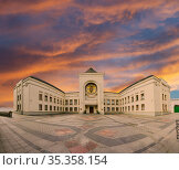 Residence of Patriarch of Moscow and All Russia (panoramic view). Danilov Monastery (Svyato-Danilov Monastery or Holy Danilov Monastery),to have been founded in the 13th century. Moscow,Russia (2017 год). Стоковое фото, фотограф Владимир Журавлев / Фотобанк Лори