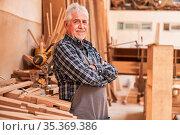 Zufriedener Senior als Schreiner Meister in seiner Tischlerei Werkstatt... Стоковое фото, фотограф Zoonar.com/Robert Kneschke / age Fotostock / Фотобанк Лори