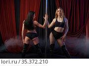 Two sensual striptease dancers, pole dance. Стоковое фото, фотограф Tryapitsyn Sergiy / Фотобанк Лори